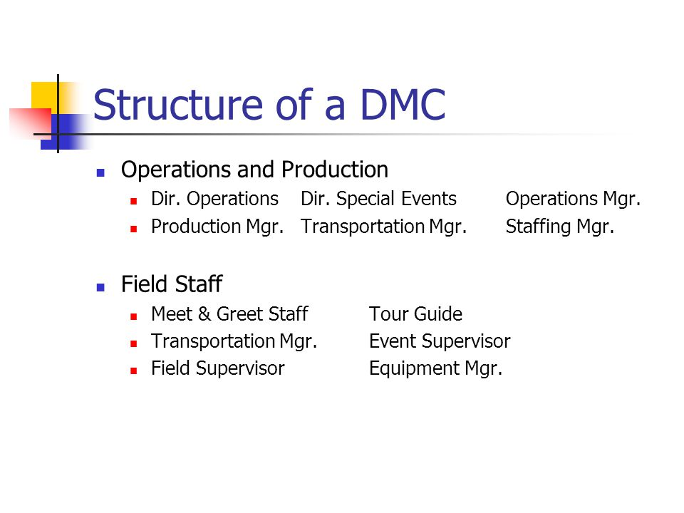Structure of a DMC Operations and Production Field Staff