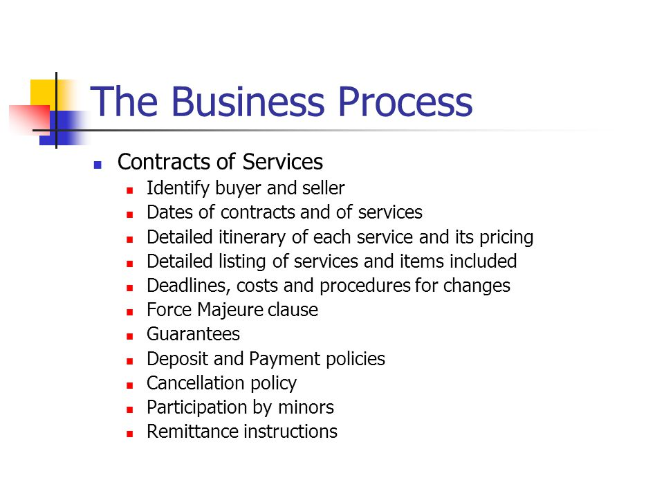 The Business Process Contracts of Services Identify buyer and seller