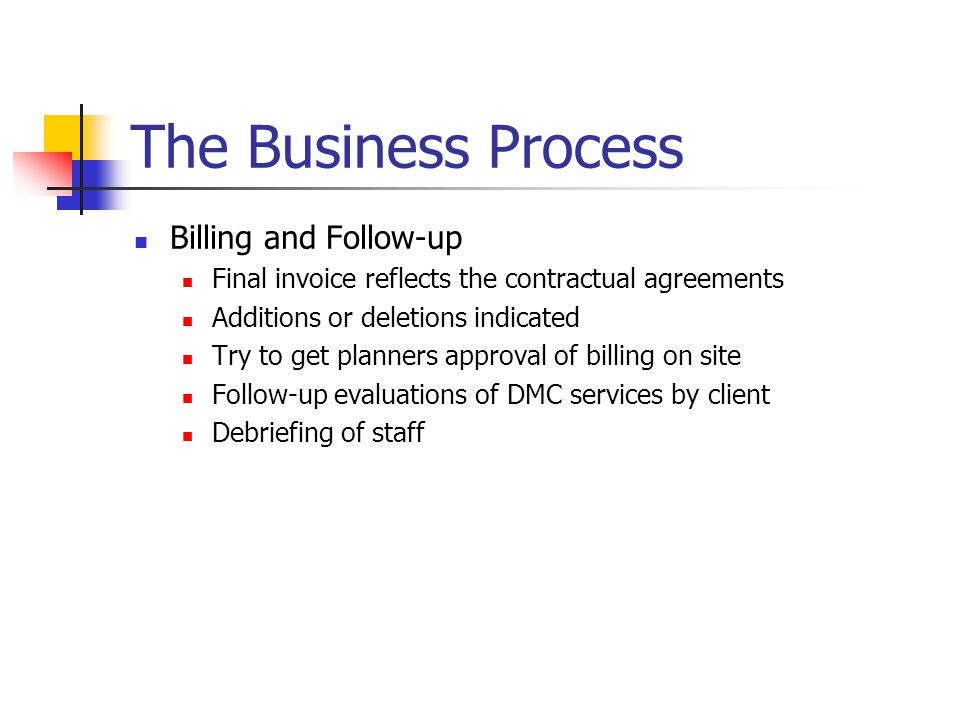 The Business Process Billing and Follow-up