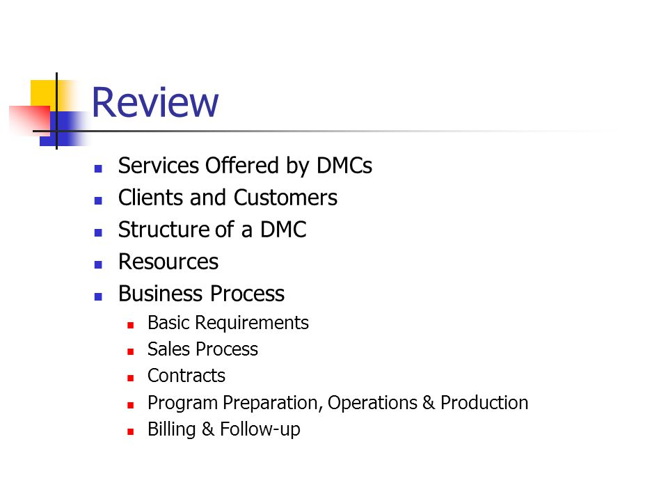 Review Services Offered by DMCs Clients and Customers