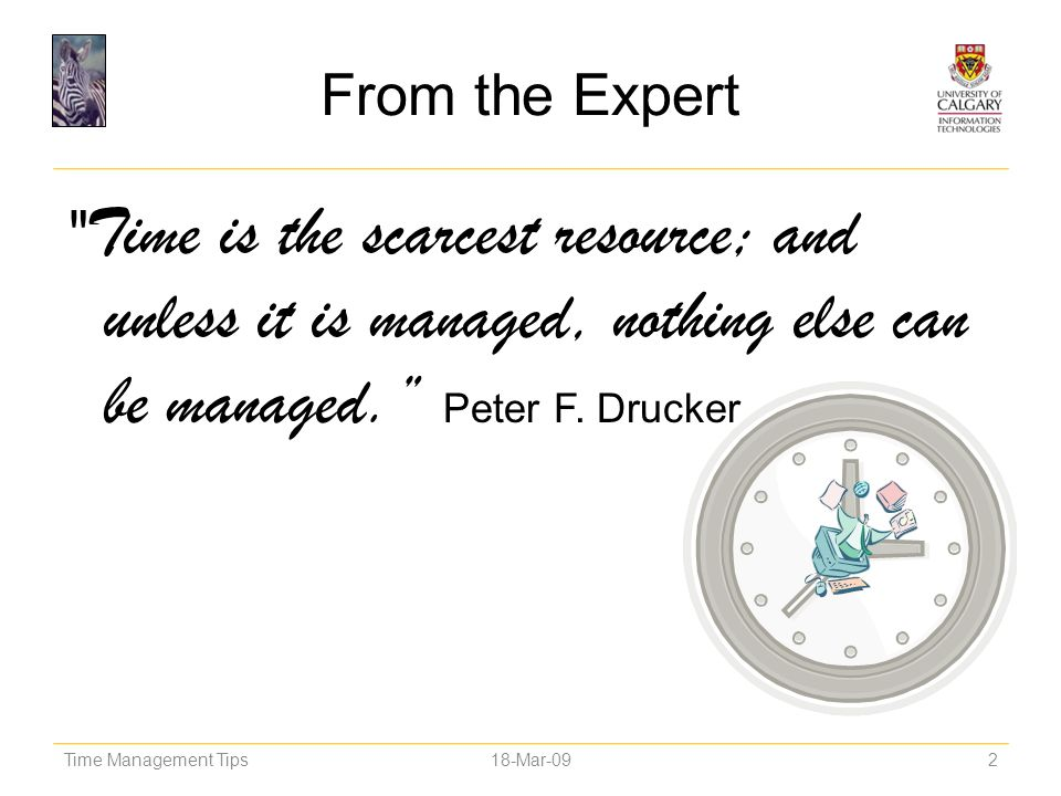 From the Expert Time is the scarcest resource; and unless it is managed, nothing else can be managed. Peter F. Drucker.