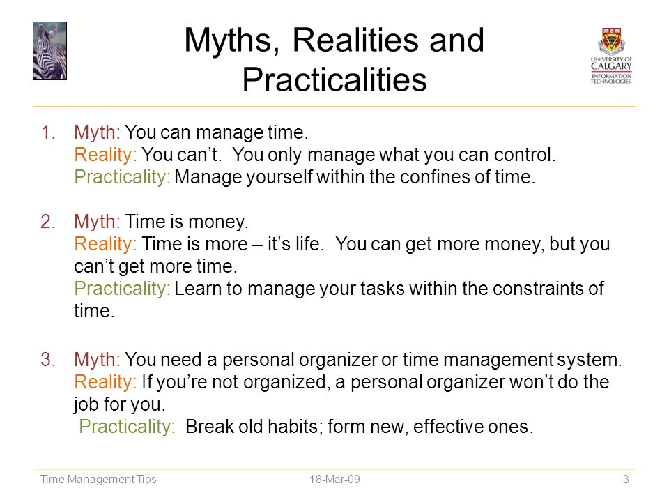 Myths, Realities and Practicalities