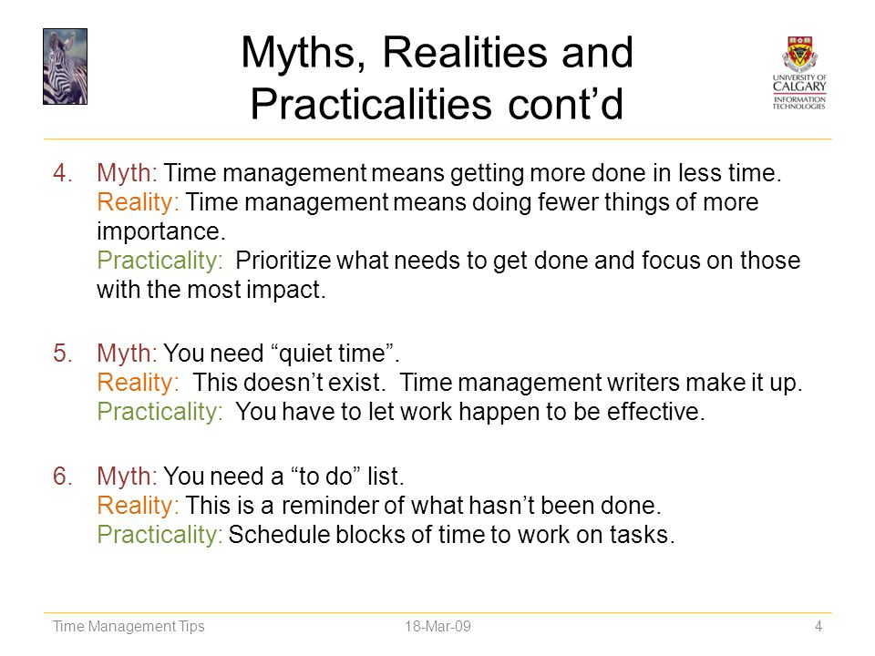 Myths, Realities and Practicalities cont'd