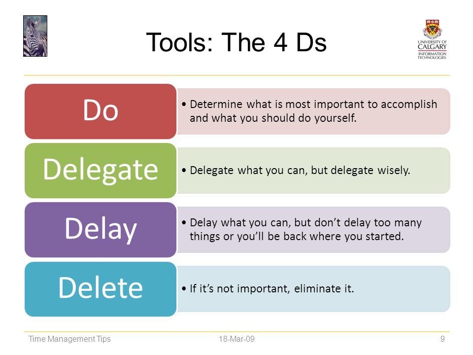 Tools: The 4 Ds Do. Determine what is most important to accomplish and what you should do yourself.