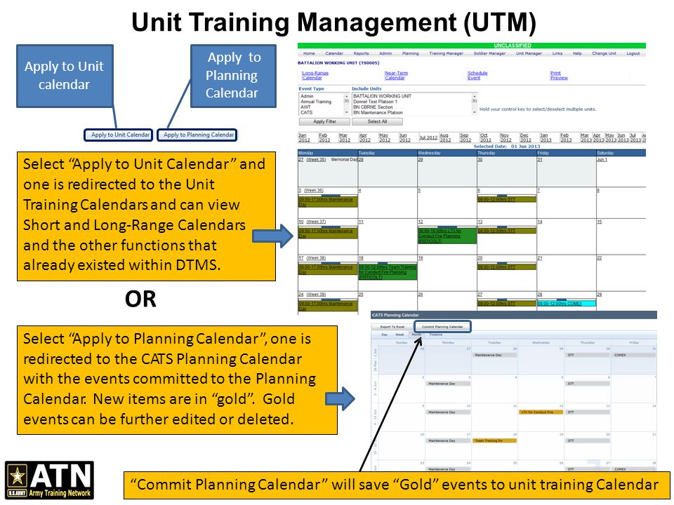 Course Calendar Utm Planner : Unit training management utm ppt video online download