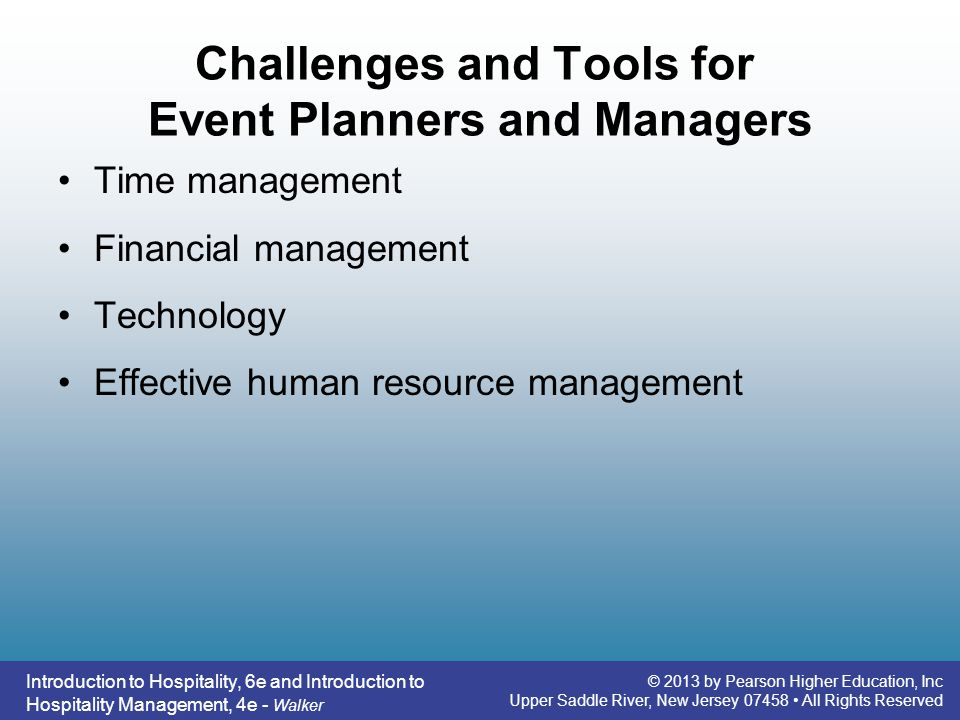 Challenges and Tools for Event Planners and Managers