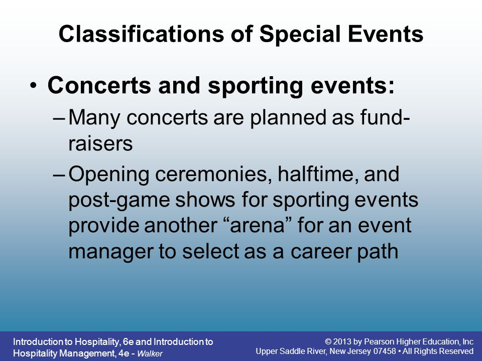 Classifications of Special Events