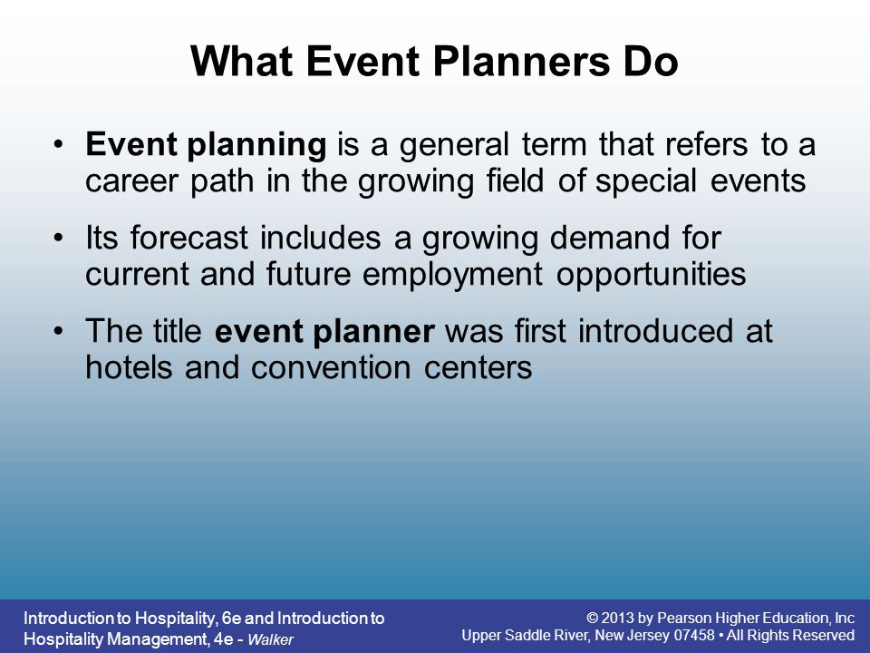 What Event Planners Do Event planning is a general term that refers to a career path in the growing field of special events.