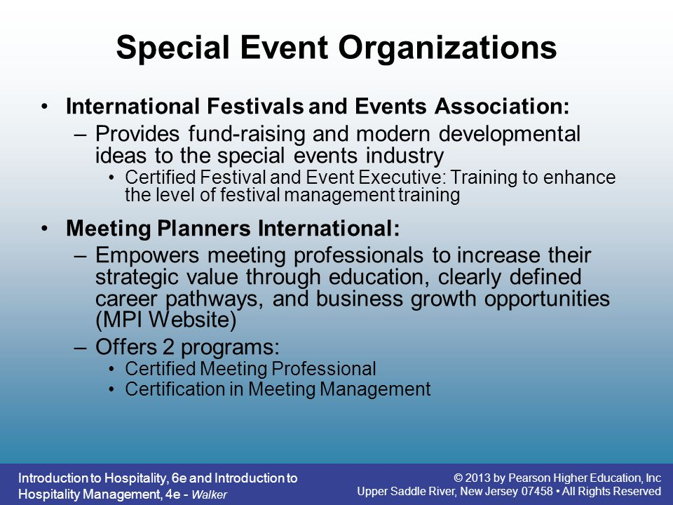 Special Event Organizations