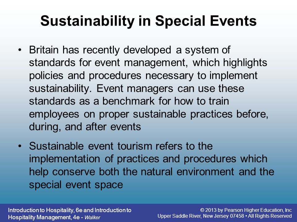 Sustainability in Special Events