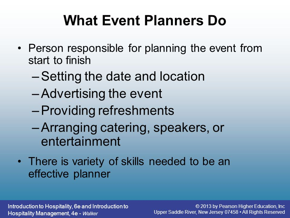 What Event Planners Do Setting the date and location