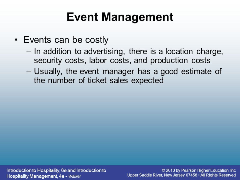 Event Management Events can be costly