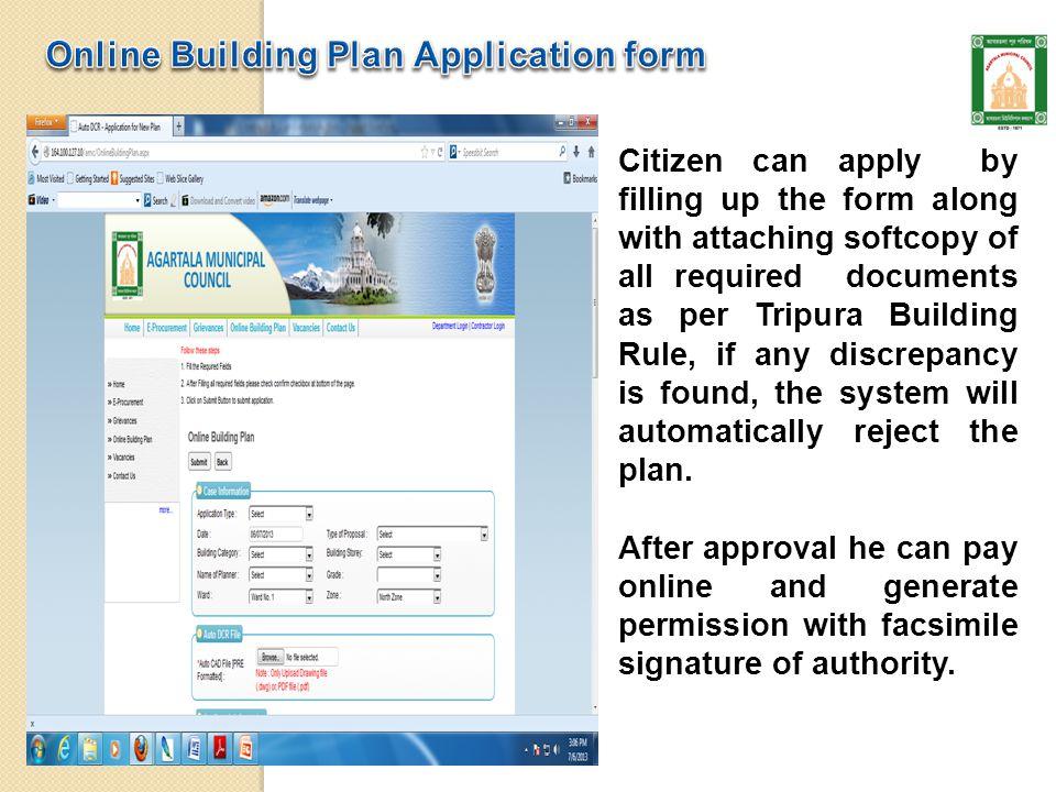 Agartala Municipal Corporation Online Building Plan System