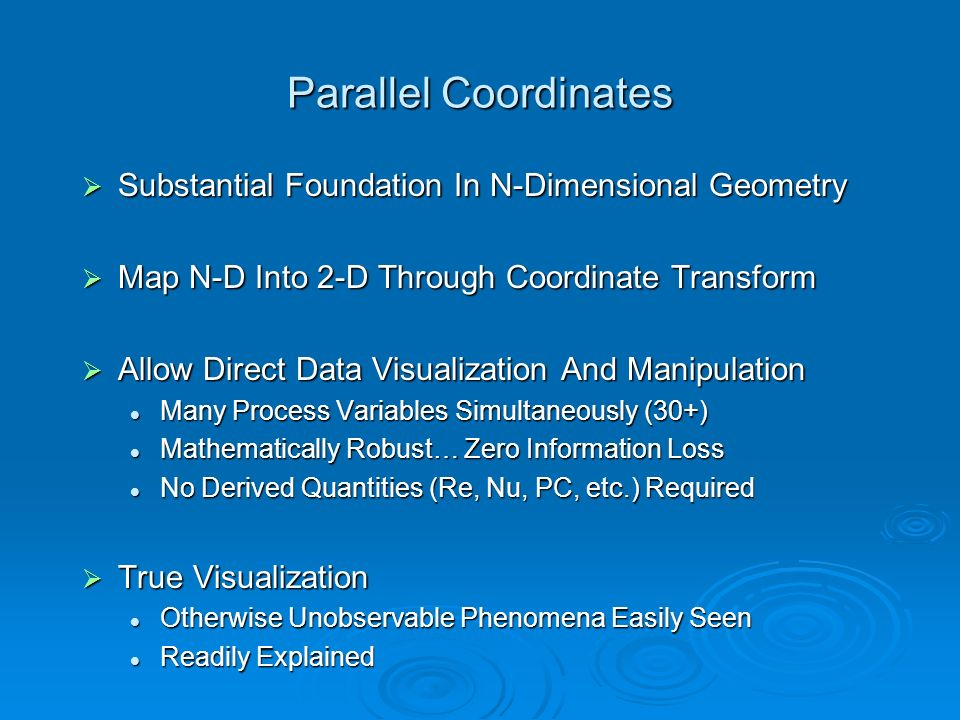Parallel Coordinates Substantial Foundation In N-Dimensional Geometry