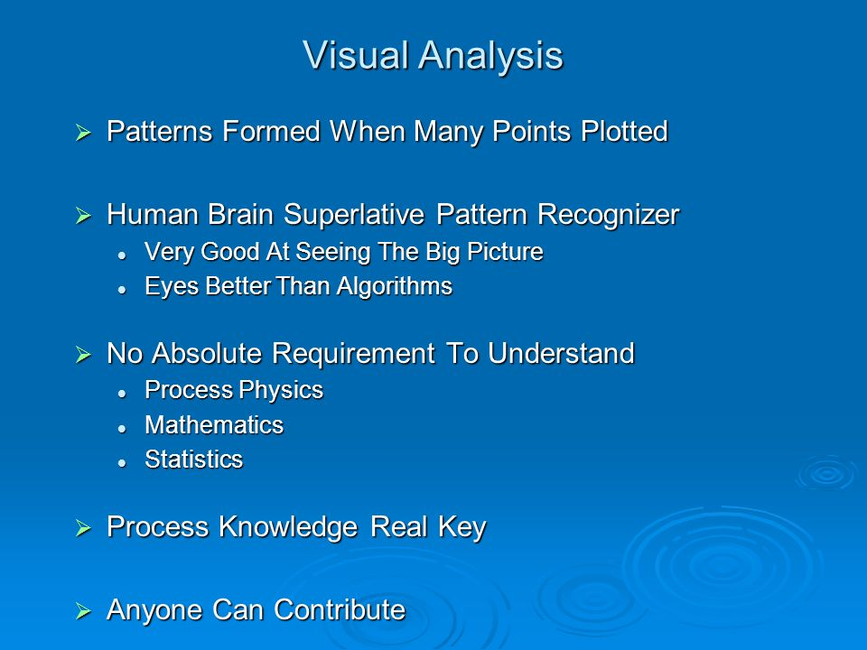 Visual Analysis Patterns Formed When Many Points Plotted