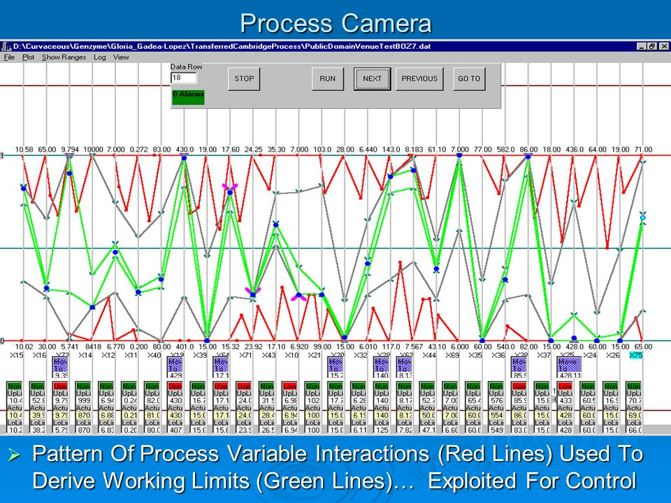 Process Camera Pattern Of Process Variable Interactions (Red Lines) Used To Derive Working Limits (Green Lines)… Exploited For Control.