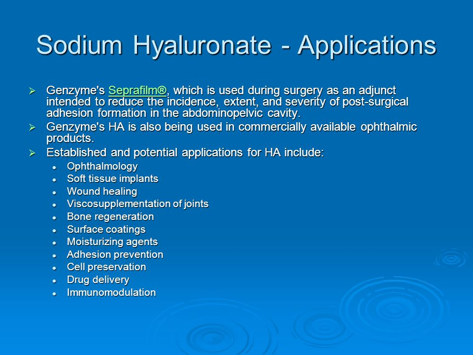 Sodium Hyaluronate - Applications