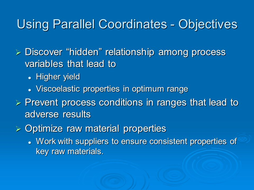 Using Parallel Coordinates - Objectives