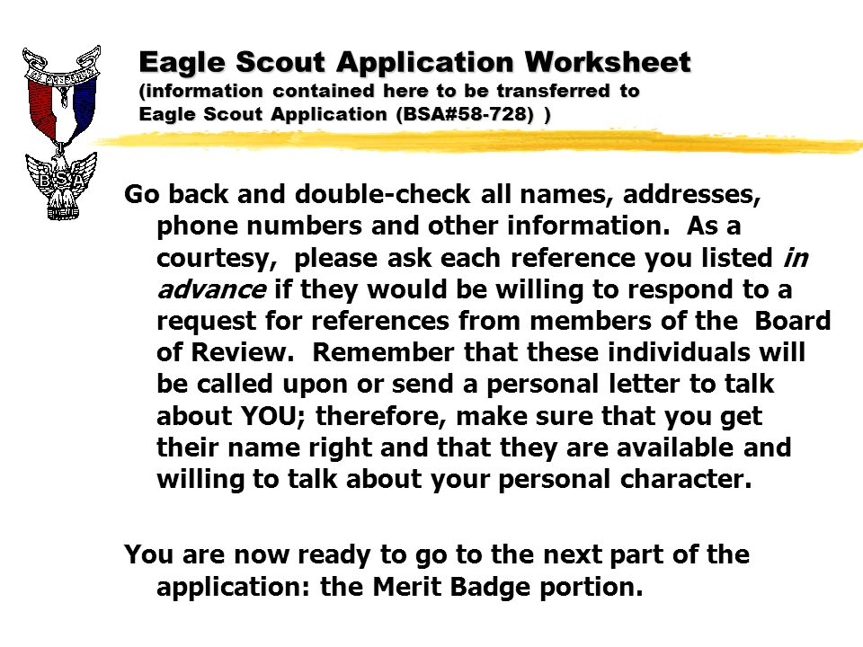 Eagle Scout Candidate Reference Letter Information