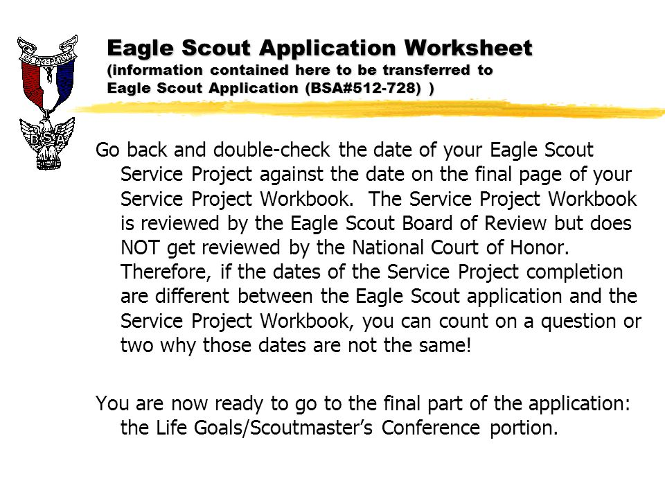 Eagle Scout Application ppt download – Eagle Scout Worksheet