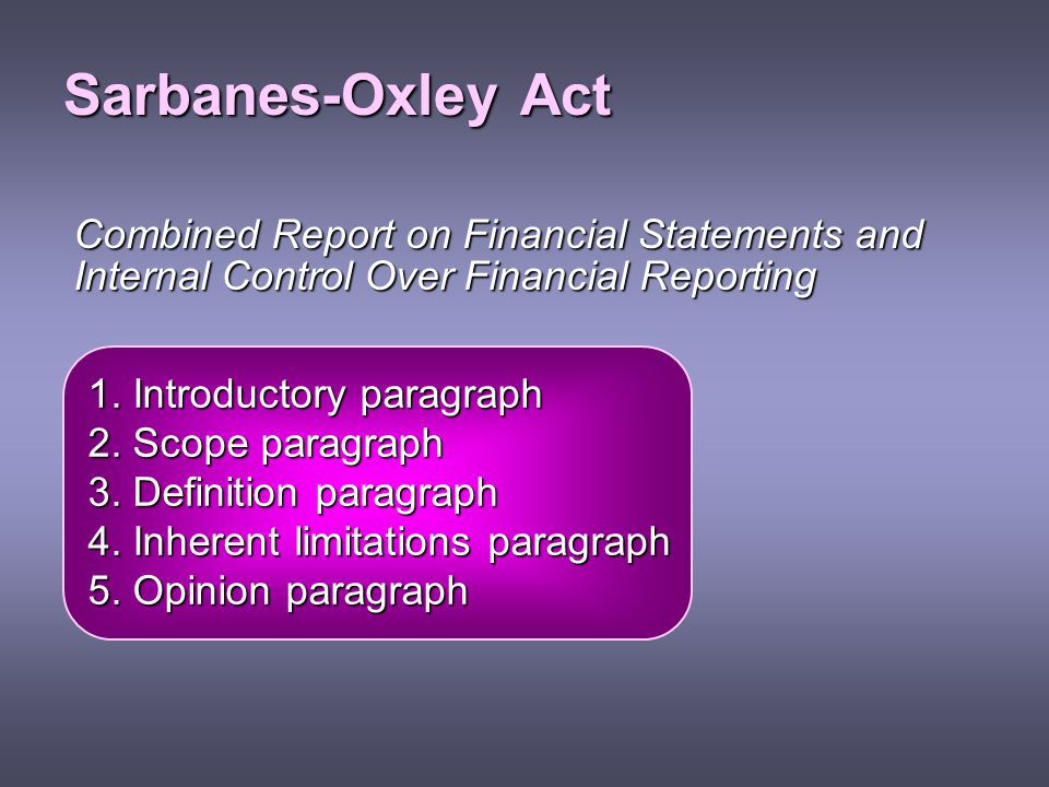 Sarbanes-Oxley Act Combined Report on Financial Statements and