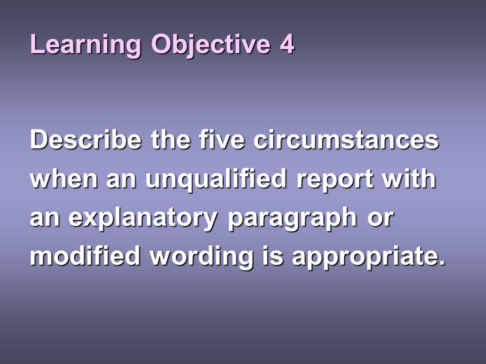 Learning Objective 4 Describe the five circumstances. when an unqualified report with. an explanatory paragraph or.