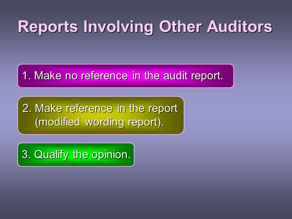 Reports Involving Other Auditors