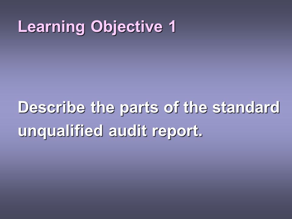 Learning Objective 1 Describe the parts of the standard unqualified audit report.