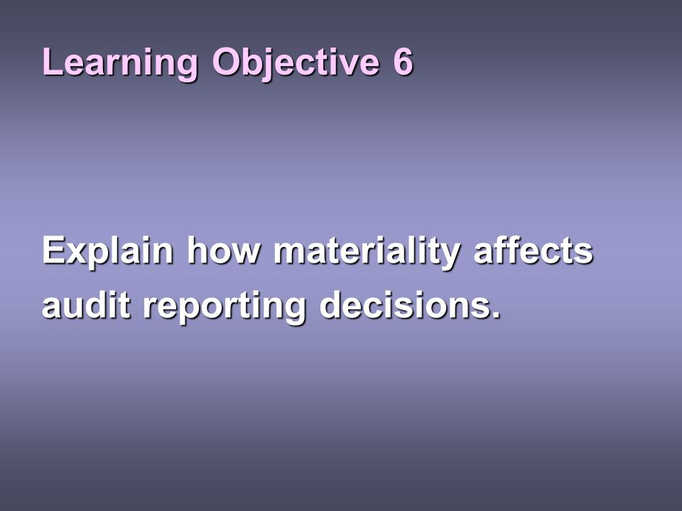 Learning Objective 6 Explain how materiality affects audit reporting decisions.
