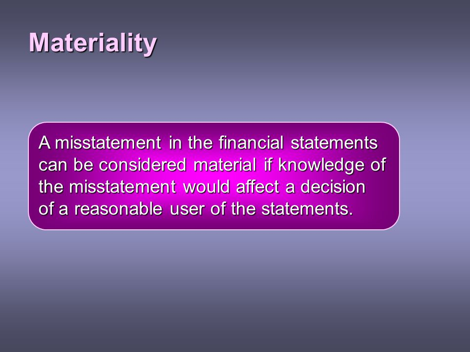 Materiality A misstatement in the financial statements
