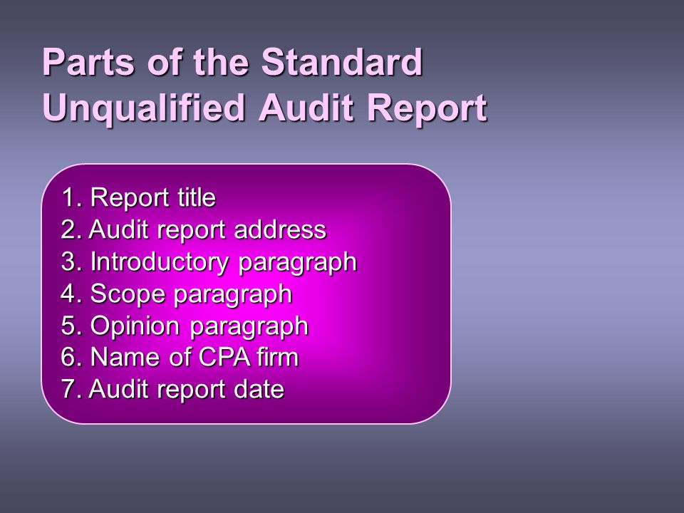 Parts of the Standard Unqualified Audit Report