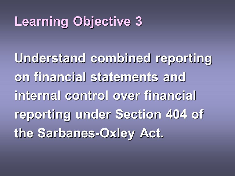 Learning Objective 3 Understand combined reporting. on financial statements and. internal control over financial.