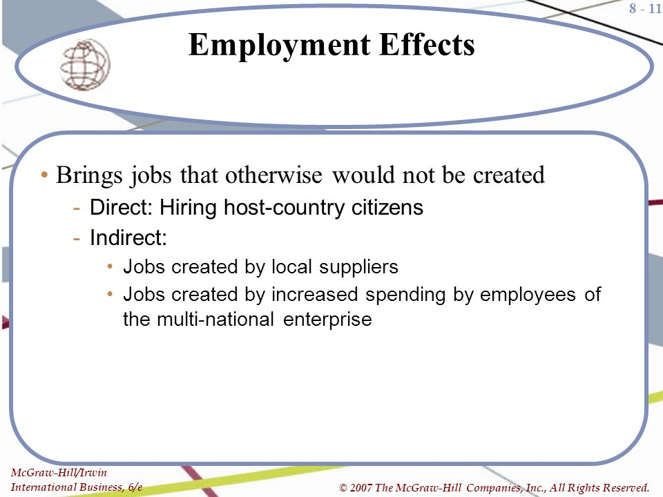 Employment Effects Brings jobs that otherwise would not be created