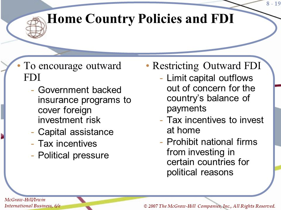 Home Country Policies and FDI