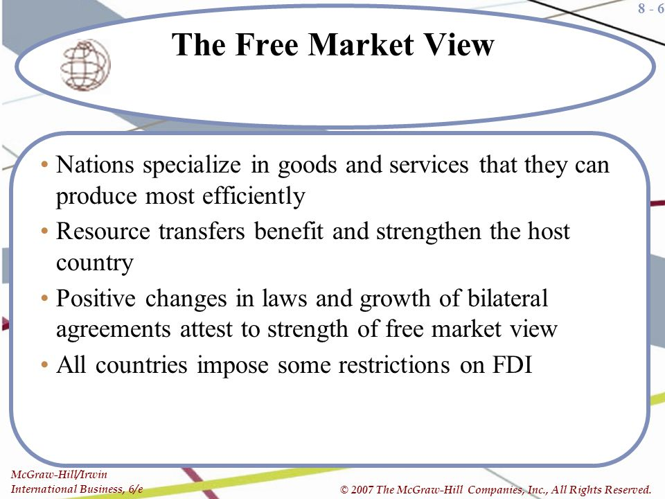 The Free Market View Nations specialize in goods and services that they can produce most efficiently.