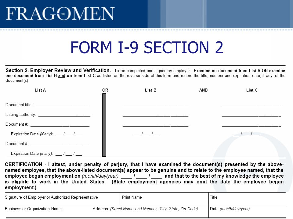 Employment Eligibility Verification (Form I-9) Compliance - ppt ...