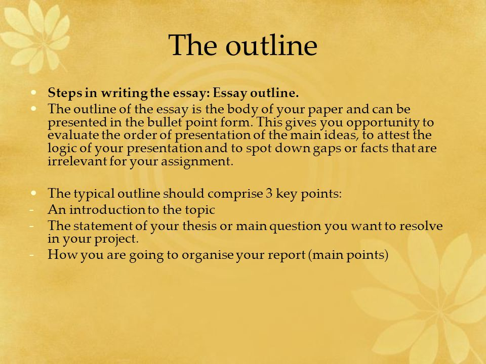 The outline Steps in writing the essay: Essay outline.