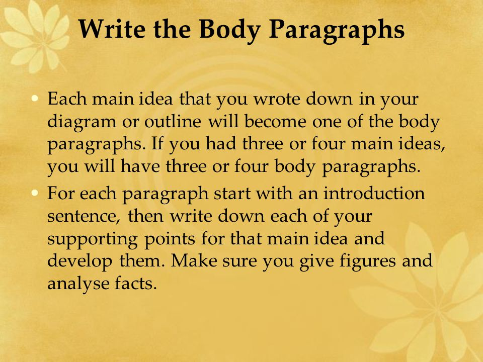 Write the Body Paragraphs