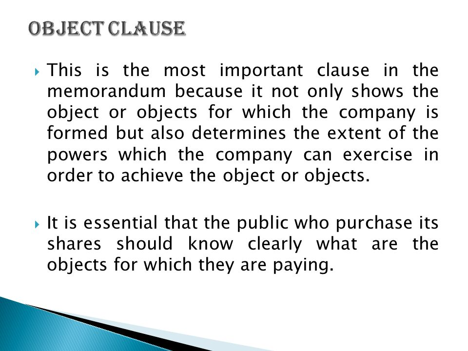 Object Clause
