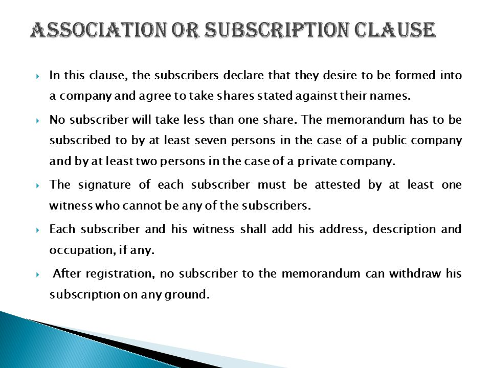 Association or Subscription Clause