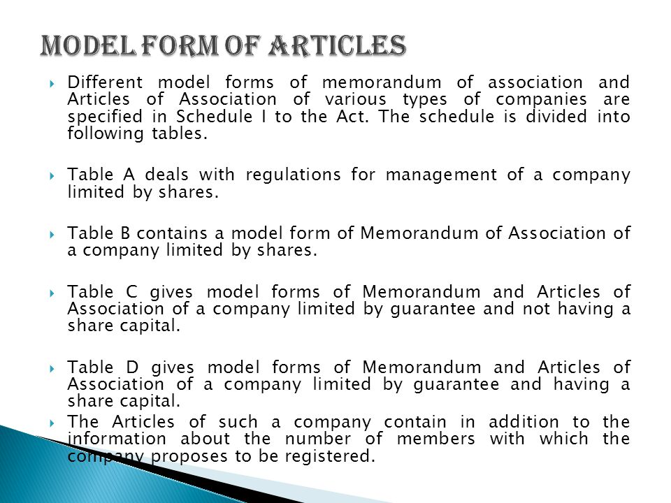 Model form of Articles