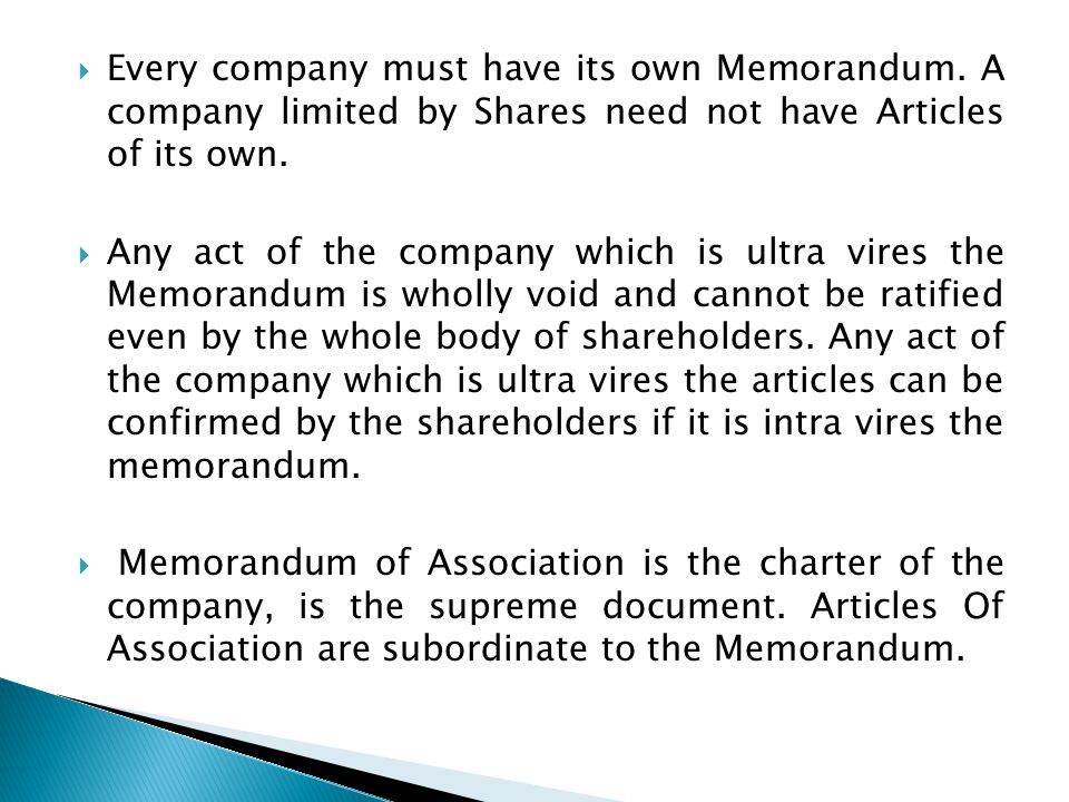 Every company must have its own Memorandum