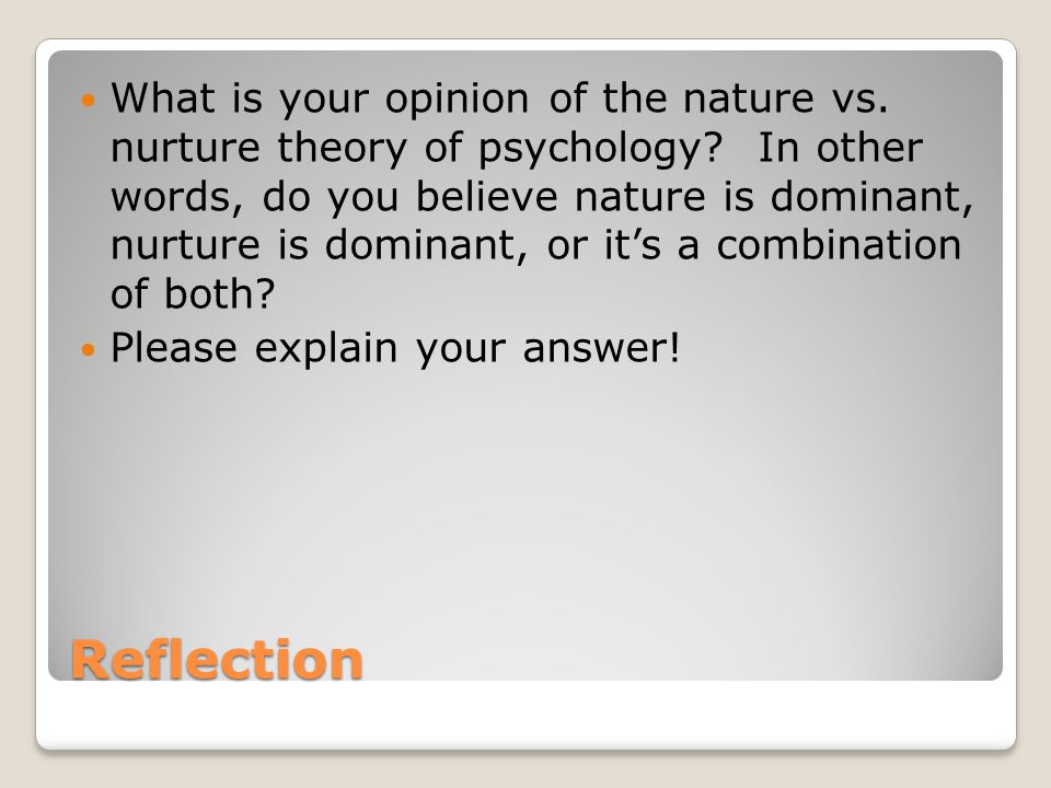nature versus nurture in brave new 3 nature vs nurture articles favoring nature pro-nature article 1: nature vs nurture: new science stirs debate this article, and its related video, discusses how biology and environment interact with each other to help influence a person's development.