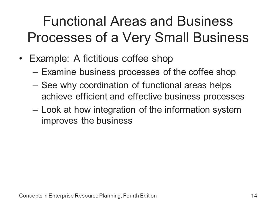 Functional Areas and Business Processes of a Very Small Business