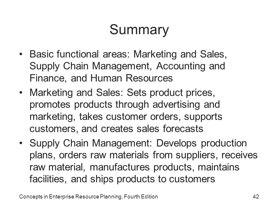 Summary Basic functional areas: Marketing and Sales, Supply Chain Management, Accounting and Finance, and Human Resources.