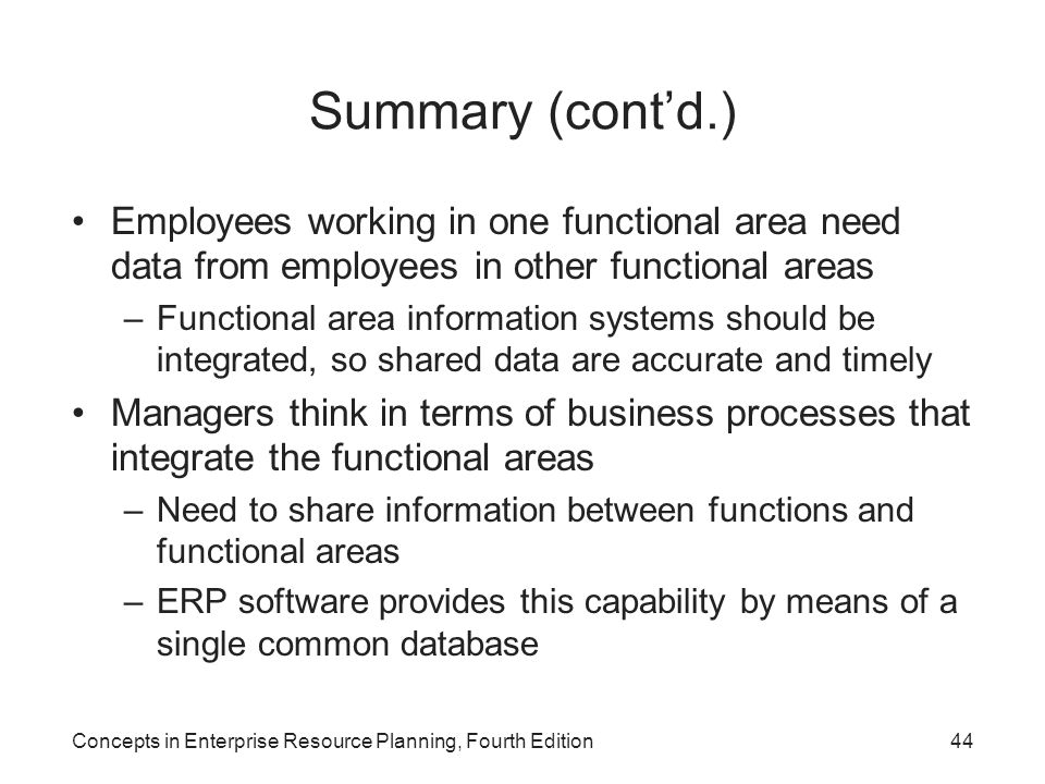 Summary (cont'd.) Employees working in one functional area need data from employees in other functional areas.