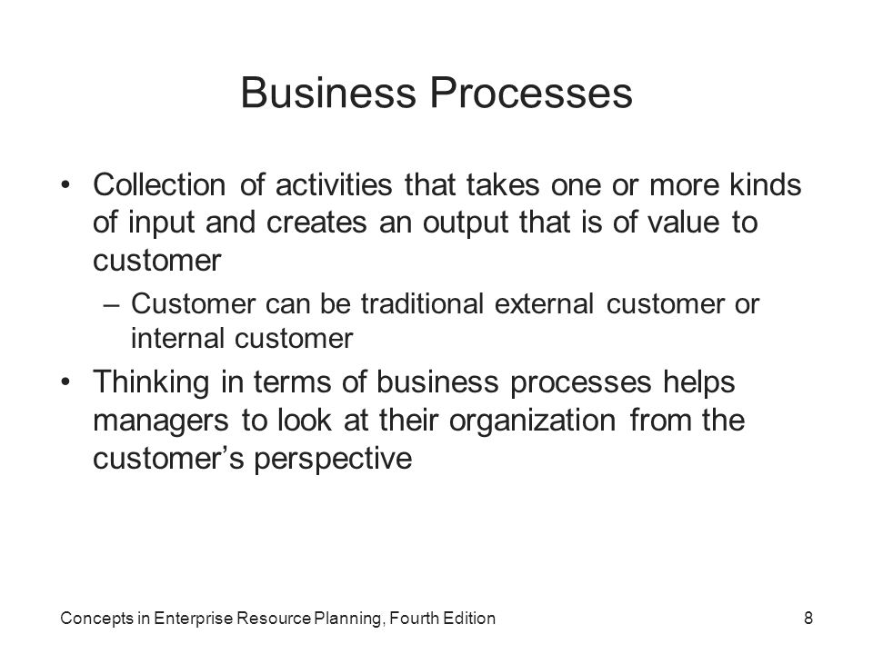 Business Processes Collection of activities that takes one or more kinds of input and creates an output that is of value to customer.