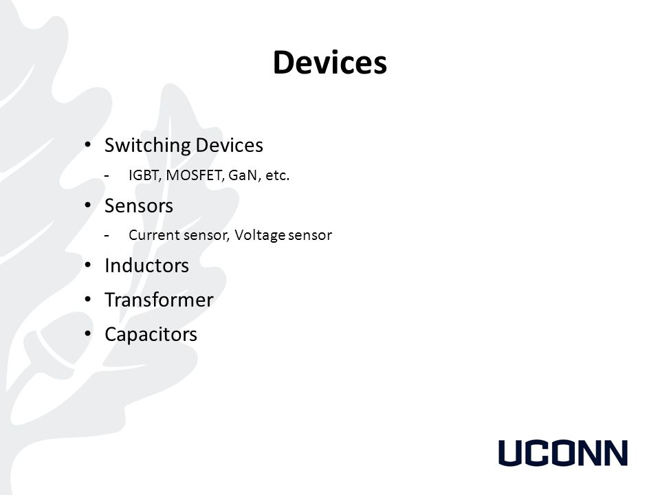 Devices Switching Devices Sensors Inductors Transformer Capacitors