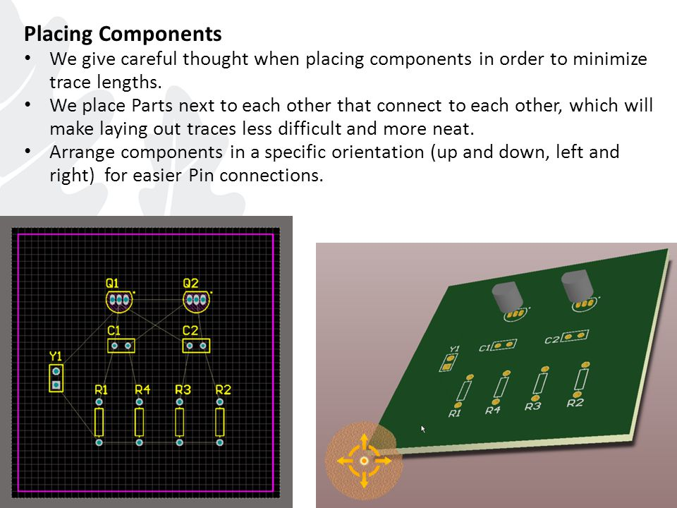 Placing Components We give careful thought when placing components in order to minimize trace lengths.