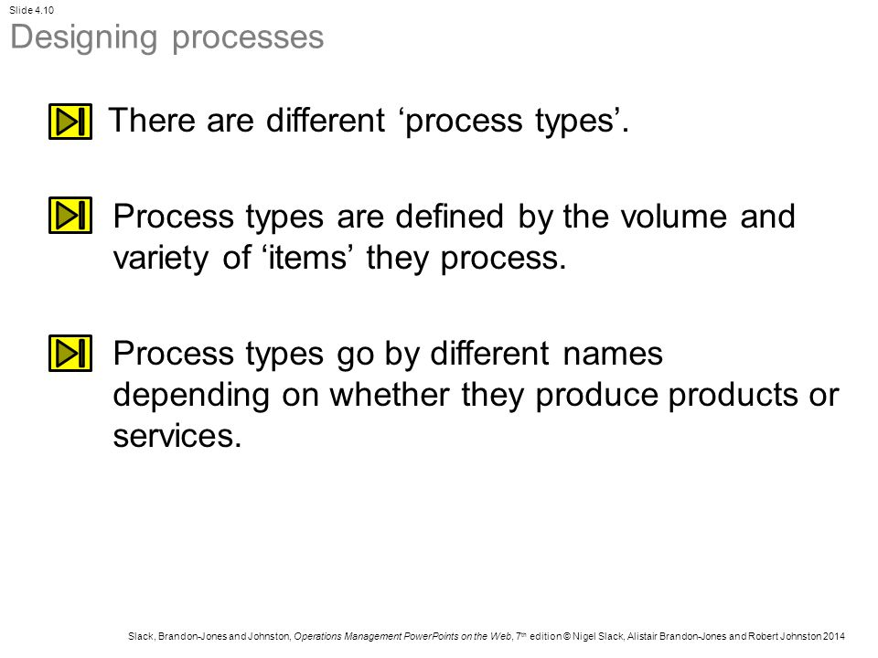 Designing processes There are different 'process types'. Process types are defined by the volume and variety of 'items' they process.